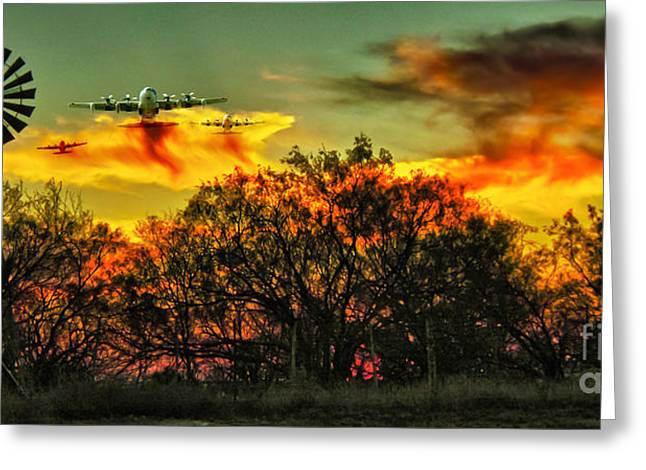 Aermotor Greeting Cards - Wildfire C-130  Greeting Card by Robert Frederick
