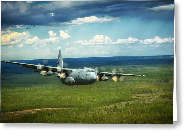 C-130 Greeting Cards - C-130 Hercules over Canada Greeting Card by Mountain Dreams