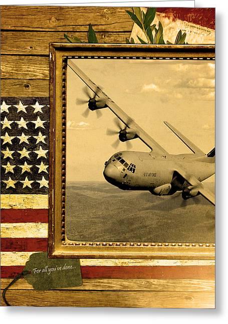 C-130 Hercules Rustic Flag Greeting Card by Reggie Saunders