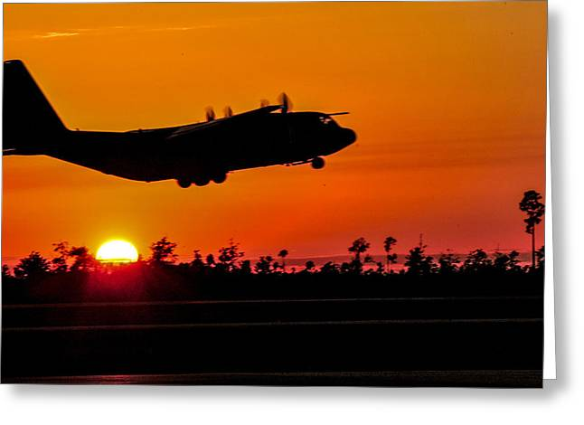 Take Command Greeting Cards - C 130 Hercules sunset Greeting Card by Paul Fearn