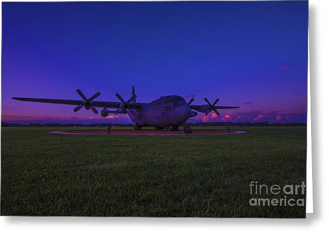 Recon Greeting Cards - C-130E Hercules Military AirCraft Greeting Card by David Haskett