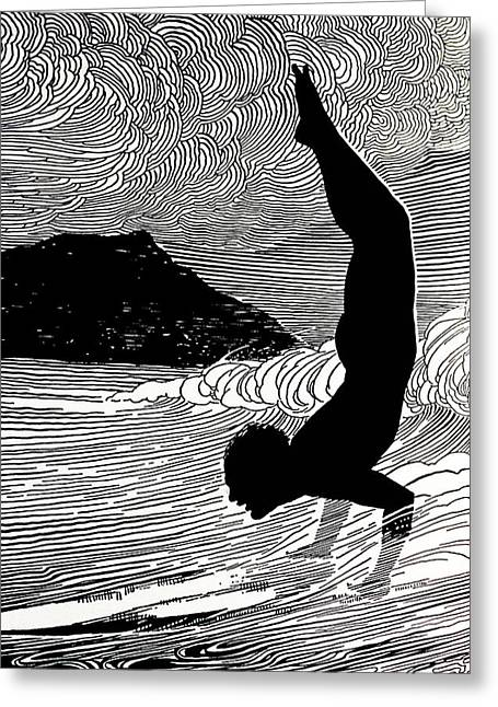 Surfing Art Greeting Cards - C. 1930, Don Blanding Art, Surfer And Greeting Card by Hawaiian Legacy Archive
