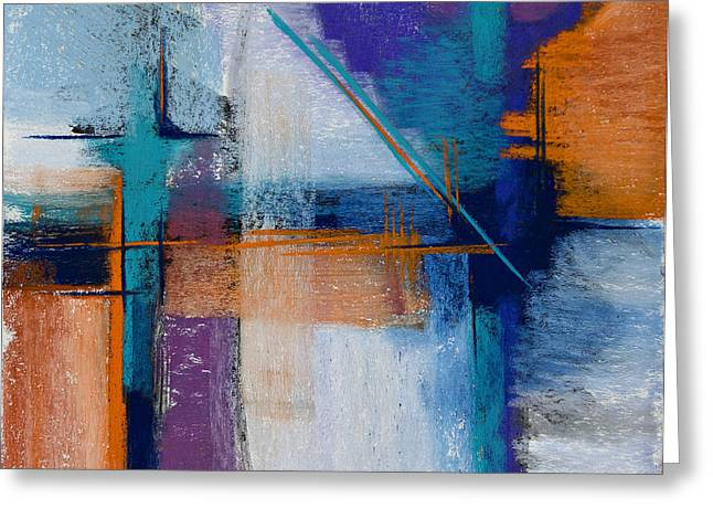 Contemporary Abstract Pastels Greeting Cards - Drilling Boom Greeting Card by Tracy L Teeter