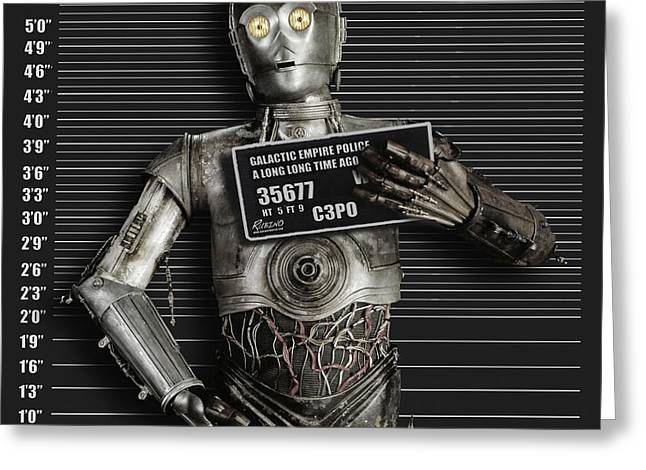 Culture Mixed Media Greeting Cards - C-3PO Mug Shot Greeting Card by Tony Rubino