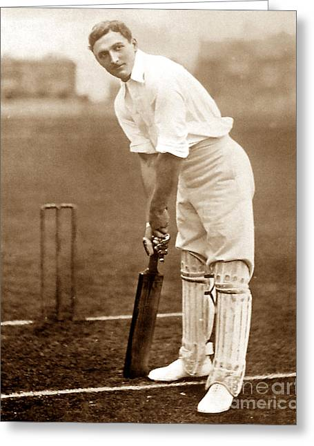 Cricketers Greeting Cards - C B Fry England Cricketer Greeting Card by The Keasbury-Gordon Photograph Archive