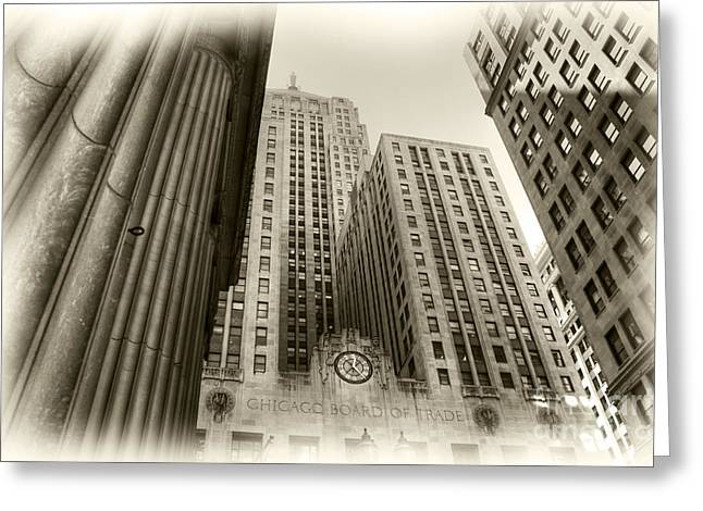 Lasalle Street Greeting Cards - C B O T Greeting Card by David Bearden