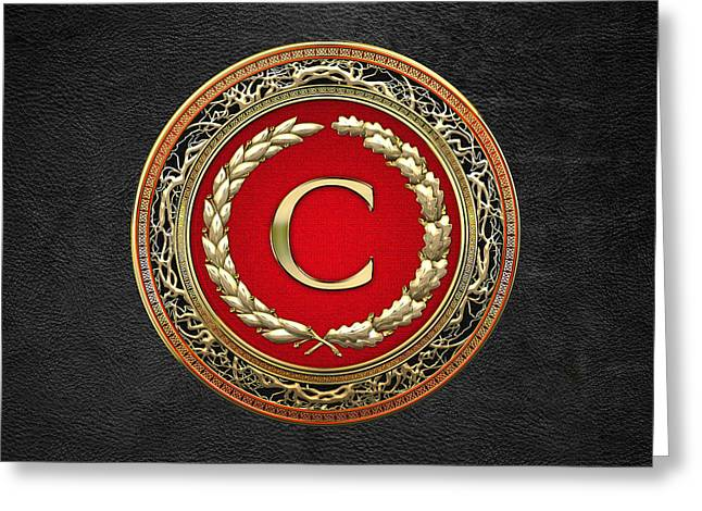 Cadeau Greeting Cards - C - Gold Vintage Monogram on Black Leather Greeting Card by Serge Averbukh