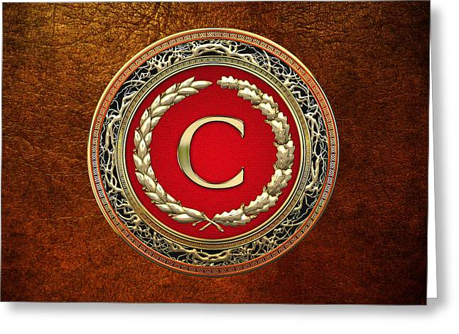 Cadeau Greeting Cards - C - Gold Vintage Monogram on Brown Leather Greeting Card by Serge Averbukh