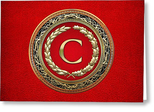 Cadeau Greeting Cards - C - Gold Vintage Monogram on Red Leather Greeting Card by Serge Averbukh