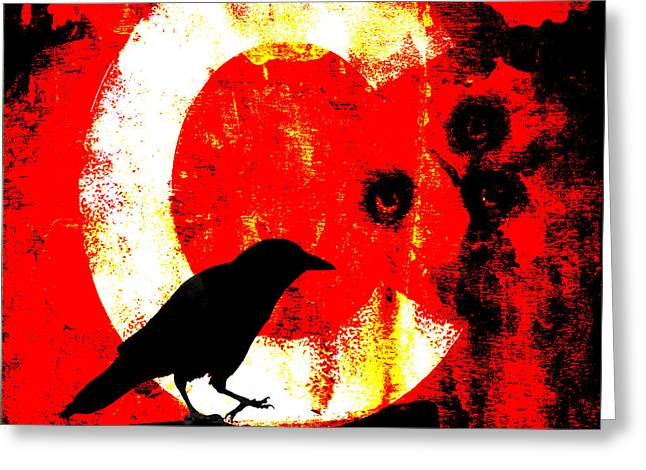 Crow Collage Greeting Cards - C is for Crow Greeting Card by Carol Leigh