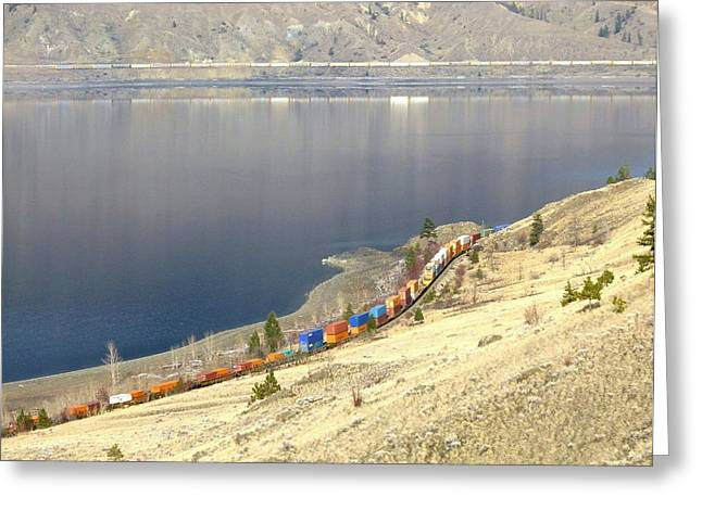 Kamloops Greeting Cards - C P R And C N R Freight Trains Greeting Card by Will Borden