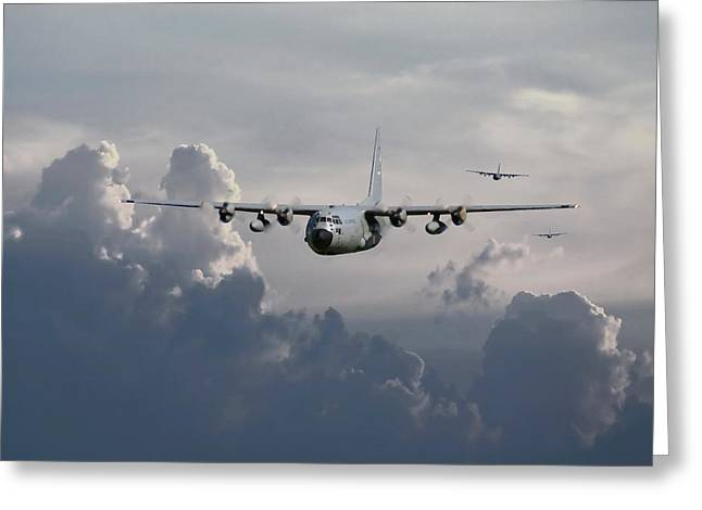 Aircraft Greeting Cards - C130 Hecules    In Trail Greeting Card by Pat Speirs