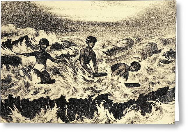Surfing Art Greeting Cards - C.1840 Artbook Illustration, Sandwich Greeting Card by Hawaiian Legacy Archive