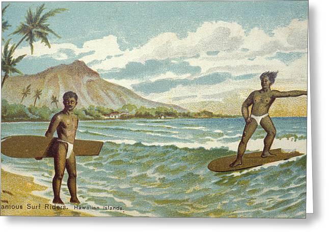 Surfing Art Greeting Cards - C.1905 Hawaii, Oahu, Waikiki, Man On Greeting Card by Hawaiian Legacy Archive