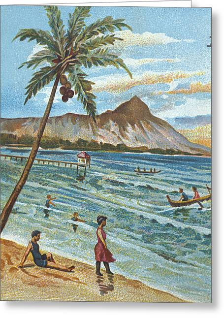 Surfing Art Greeting Cards - C.1905 Hawaii, Oahu, Waikiki, Outrigger Greeting Card by Hawaiian Legacy Archive