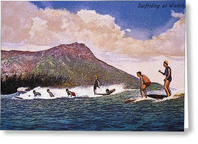 Surfing Art Greeting Cards - C.192030 Hawaii, Oahu, Art, Surfers On Greeting Card by Hawaiian Legacy Archive