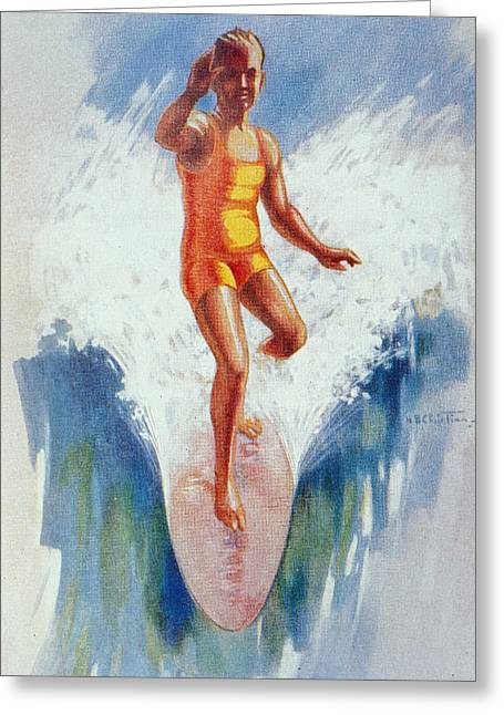 Surfing Art Greeting Cards - C.1926 H. B. Christian Art, Front View Greeting Card by Hawaiian Legacy Archive