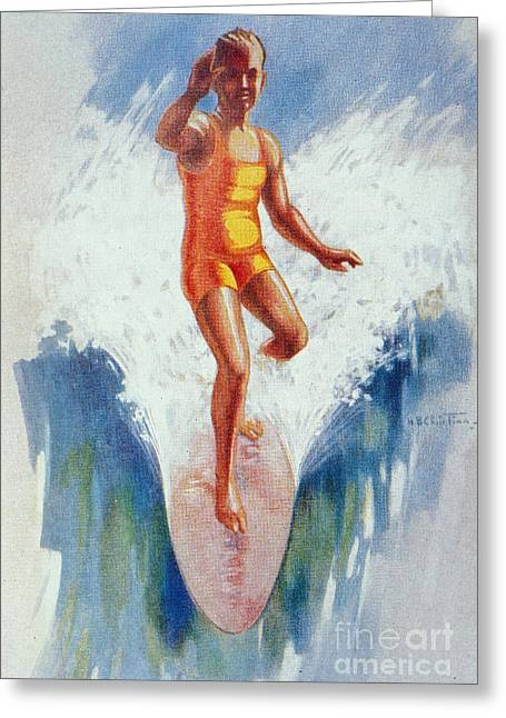 Surfing Art Greeting Cards - C.1926 H. B. Christian Art, Front View Of Surfer In Hawaii, Catching Wave, Arm Up Greeting Card by Hawaiian Legacy Archive