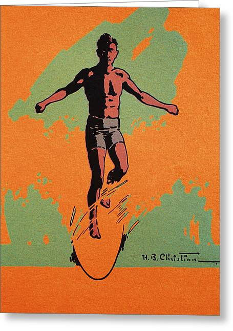 Surfing Art Greeting Cards - C.1926, H.b. Christian Art, Duotone Greeting Card by Hawaiian Legacy Archive