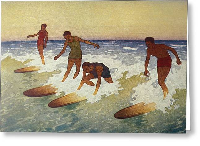 Surfing Art Greeting Cards - C.1927 Hawaii, Painting, Charles Greeting Card by Hawaiian Legacy Archive