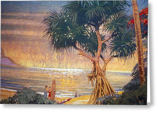Pacific Ocean Prints Greeting Cards - C.1929 Hawaii, Oahu, Art, Surfer Looks Greeting Card by Hawaiian Legacy Archive