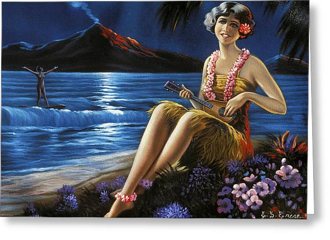 Pacific Ocean Prints Greeting Cards - C.1930-1940 Hawaii, Art, Ukulele Girl Greeting Card by Hawaiian Legacy Archive