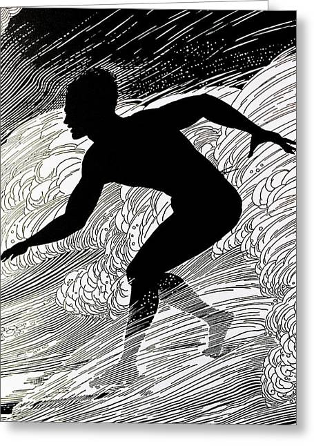 Surfing Art Greeting Cards - C.1930, Don Blanding Art, Surfer Greeting Card by Hawaiian Legacy Archive
