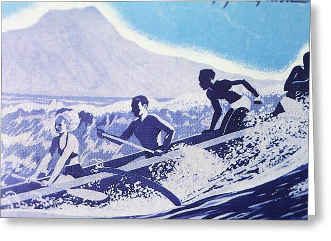 Pacific Ocean Prints Greeting Cards - C.1940, Outrigger Canoe Surfing Wave Greeting Card by Hawaiian Legacy Archive