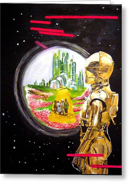 Tron Paintings Greeting Cards - C3P0 Dream Greeting Card by Valery Latulippe