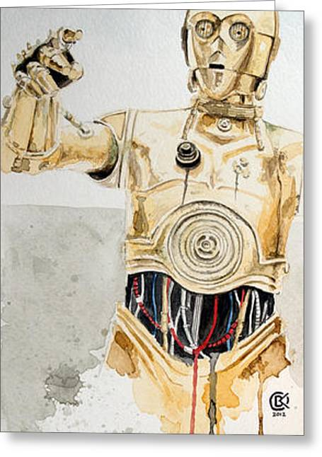 Star Greeting Cards - C3po Greeting Card by David Kraig