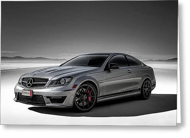 Monochrome Greeting Cards - C63 Amg Greeting Card by Douglas Pittman