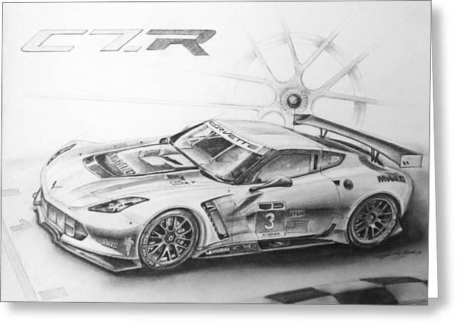 Indy Car Drawings Greeting Cards - C7.r Greeting Card by Kelly Bremer