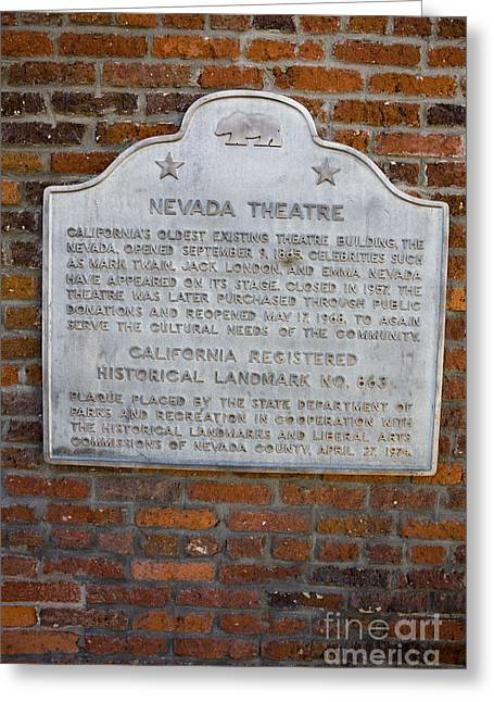 Outdoor Theater Greeting Cards - CA-863 Nevada Theatre Greeting Card by Jason O Watson