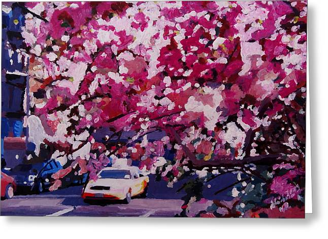New York Greeting Cards - Cab and Flower Trees in New York City Greeting Card by M Bleichner