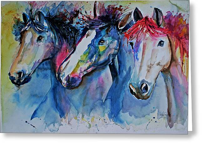 Race Horse Drawings Greeting Cards - Caballos Greeting Card by Isabel Salvador