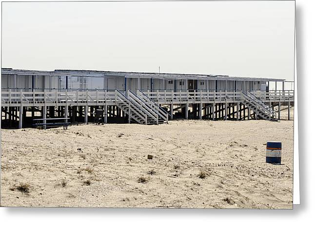 Cabanas Breezy Point Surf Club Greeting Card by Maureen E Ritter