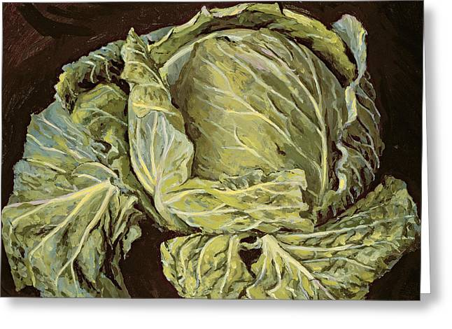 Green Fruit Greeting Cards - Cabbage Still Life Greeting Card by Vincent Yorke