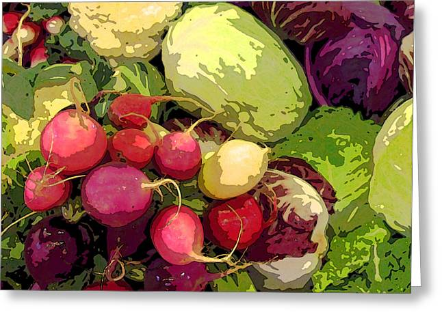 Healthy Greeting Cards - Cabbages and Radishes Greeting Card by Jean Hall
