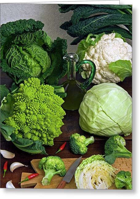 Cabbages -clockwise- Broccoli Greeting Card by Nico Tondini