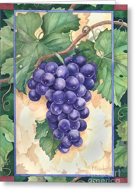 Grape Leaf Greeting Cards - Cabernet Grapes Greeting Card by Paul Brent