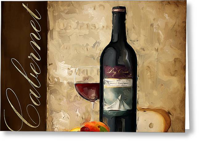 Purple Grapes Paintings Greeting Cards - Cabernet III Greeting Card by Lourry Legarde