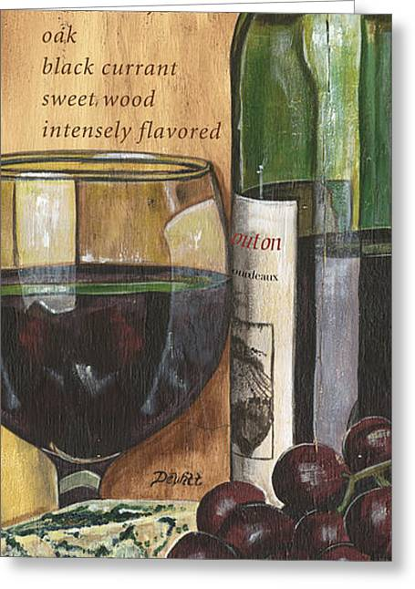 Vintage Design Greeting Cards - Cabernet Sauvignon Greeting Card by Debbie DeWitt