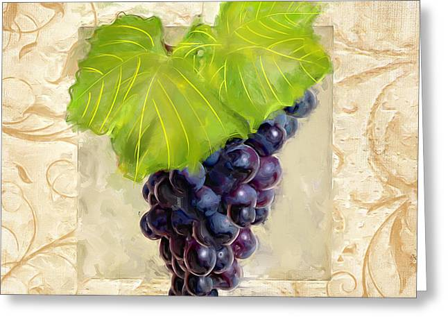 Purple Grapes Paintings Greeting Cards - Cabernet Sauvignon II Greeting Card by Lourry Legarde