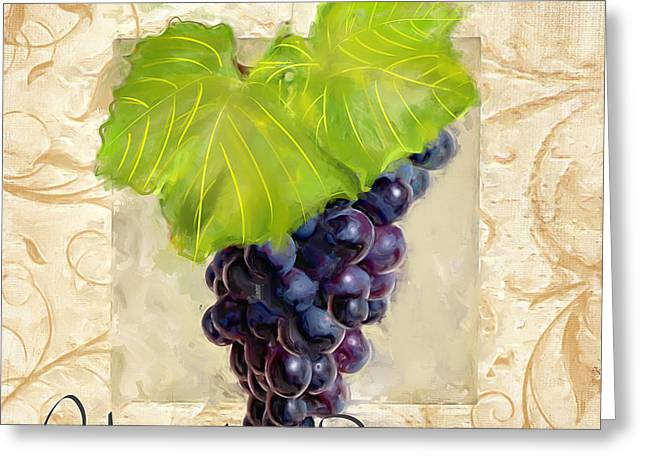 Purple Grapes Paintings Greeting Cards - Cabernet Sauvignon Greeting Card by Lourry Legarde