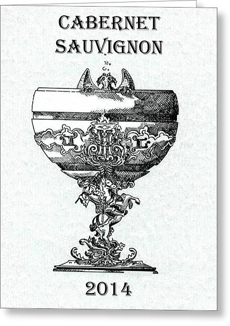 Champagne Glasses Drawings Greeting Cards - Cabernet Sauvignon Greeting Card by Julio R Lopez Jr