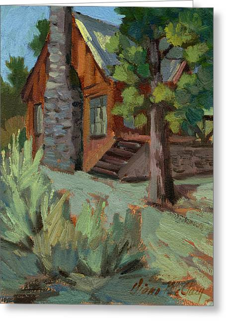 Rustic Cabin Greeting Cards - Cabin at Big Bear Lake Greeting Card by Diane McClary