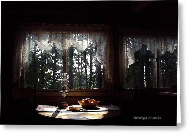 Cabin Window Mixed Media Greeting Cards - Cabin At Dawn Greeting Card by Marilyn Nestell