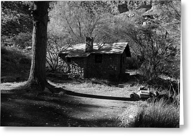 The Grand Canyon Greeting Cards - Cabin At Indian Gardens - Grand Canyon Greeting Card by Aidan Moran