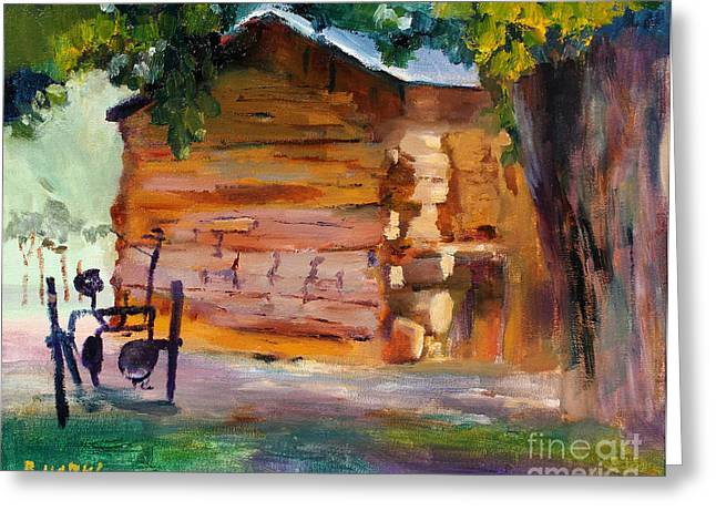 Pioneer Scene Paintings Greeting Cards - Lees Cabin At Lonely Dell Ranch Greeting Card by Bernard Marks