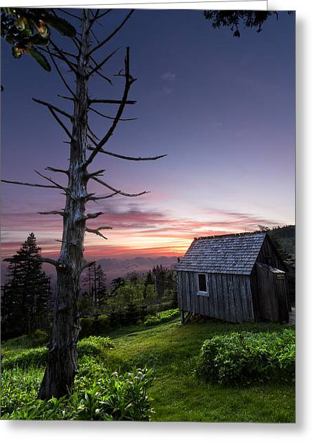 Mountaintop. Trees Greeting Cards - Cabin at the Top Greeting Card by Debra and Dave Vanderlaan